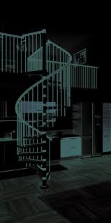 kitchen room design interior white black metal spiral staircase
