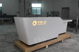 Led Reception Desk 2 Person White Corian Artificial Stone Reception Desk