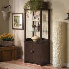 wood curio cabinet with glass doors corner curio cabinet lighted china display case 5 shelves glass door