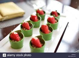 dessert canapes strawberry dessert canapes food in hotel restaurant stock photo