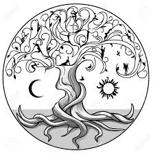 tree of with sun and moon on white background royalty free