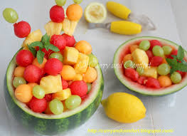 kitchen simmer fruit salad in watermelon bowl