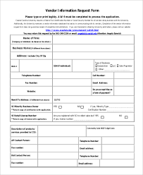 Vendor Information Sheet Template Sle Vendor Request Form 9 Exles In Word Pdf