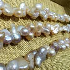 natural pink pearl necklace images Large size baroque keshi stely wholesales peanut shape natural jpg