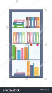 office bookcase folders on shelves colored stock vector 496592494