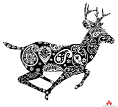 deer with ornamental design free clipart design