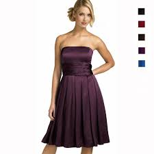 a line strapless knee length satin cocktail party bridesmaid prom