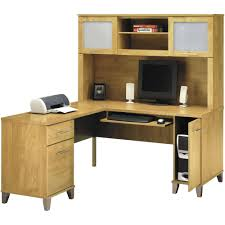 l shaped desk with hutch right return bush cabot l shaped desk with optional hutch and accessories