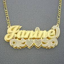 name plates jewelry solid 10k gold large 2 inches name pendant personalized jewelry 3d