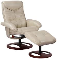 furniture modern taupe leather swivel recliner and slanted ottoman