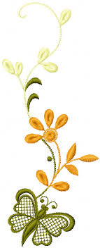 free flowers and butterfly machine embroidery design be careful
