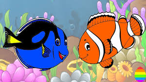 learn colors with finding dory blue tang nemo shark fish coloring