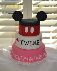 minnie and mickey twins baby shower cake