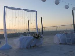 rock cancun wedding sunset terrace balcony wedding reception before the lights were