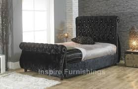 Velvet Sleigh Bed Eden Swan Crushed Velvet Chesterfield Upholstered Sleigh Storage