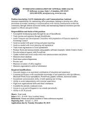 Finance Advisor Job Description Applications Invited For Iaco Administrative And Communications