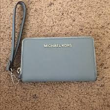 michael kors light blue wallet michael kors handbags baby blue mk wristlet poshmark