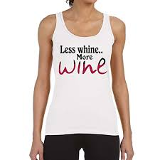 amazon com women u0027s less whine more wine white tank top clothing