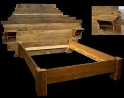 rustic platform bed frame old world reclaimed wood style