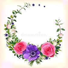 flower circle wreath coronet flowers pink purple anem