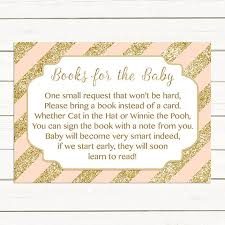 instead of a card bring a book blush pink gold baby shower bring a book instead of a card insert