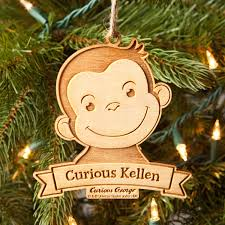 personalized ornament curious george curious kid wood