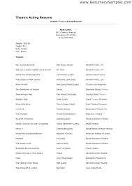 theatre resume musical theatre resume 28288