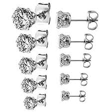stainless steel stud earrings jinique 5 pair 3 4 5 6 7mm stainless steel