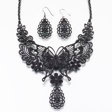 black necklace sets images Butterfly black necklace and earrings set bride 39 s jewelry jpg