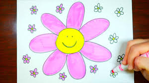 how to draw pink flowers kids coloring video cute youtube