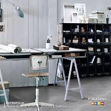 epic industrial workspace thanks to porcelana metropolis floor