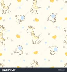 seamless pattern cute cartoon giraffe elephant stock vector