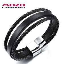stainless steel bracelet clasp images Mozo fashion men bracelet stainless steel magnetic clasp black jpg