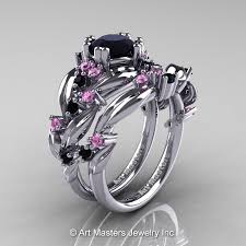black and pink engagement rings nature classic 14k white gold 1 0 ct black diamond light pink