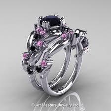 black and pink wedding ring sets nature classic 14k white gold 1 0 ct black diamond light pink