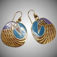 laurel burch jewelry vintage laurel burch nile bird drop earrings carol barrett