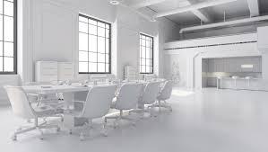 bureaux blancs bureaux blancs table de lieu de réunion avec le secteur de cuisine