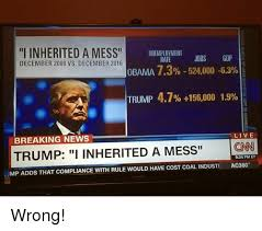 Cnn Meme - i inherited a mess unemployment jobs gdp rate december 2008 vs