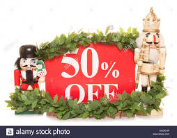 50 sale sign and nutcracker ornaments cutout stock