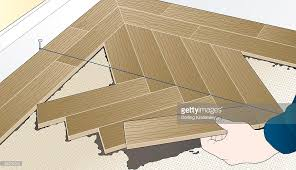 digital illustration showing how to lay wooden floor blocks in