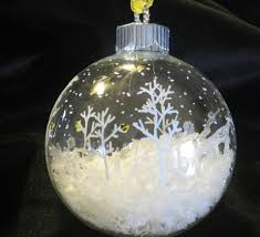 ornament idea clear glass fill half with snow