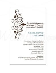 printable wedding program cards template