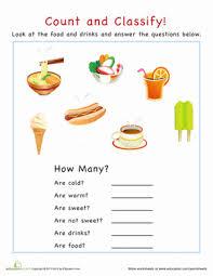 categorization food worksheet education com