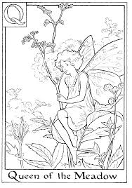 fairy printable colouring page q is for queen of the meadow