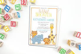 cute safari animals baby shower invitation birthday party