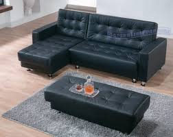 Black Tufted Ottoman Furniture Appealing Tufted Black Leather Sectional Sleeper Sofa