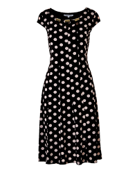 polka dot fit and flare dress cleo