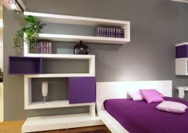 bunk beds combined purple and grey bedroom bright brown wood bed bright frame bedside white lamp chocolate curtains completed