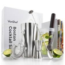 cocktail shaker set vonshef boston cocktail shaker set domu co uk