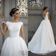 simple style 2016 white wedding dresses jewel neck cap sleeve ball